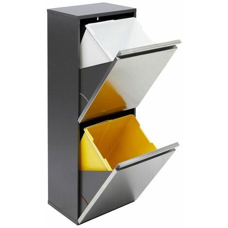 Arregui Vario CR205 Poubelle de recyclage en acier inoxydable, poubelle de tri sélectif, 2 seaux, 2 x 16L (32L) - inox