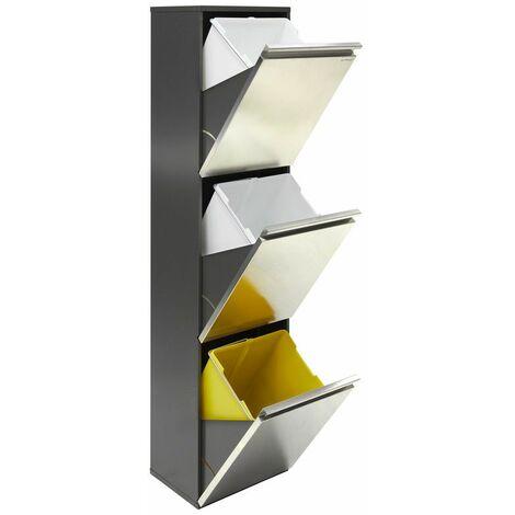 Arregui Vario CR305 Poubelle de recyclage en acier inoxydable, poubelle de tri sélectif, 3 seaux, 3 x 16L (48L) - inox