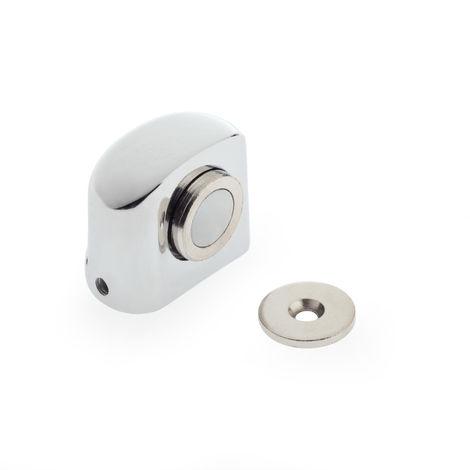 Arrêt de porte avec aimant à visser REI, en acier inoxydable, avec finition en acier inoxydable brillant et design simple