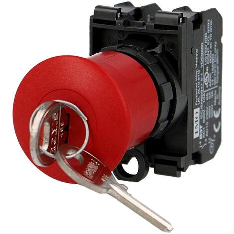 Arrêt d'urgence IMO complet à accrochage avec clé Ø22mm, 1NO+1NC