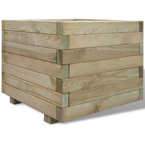 Arriate cuadrado madera 50x50x40 cm - Verde