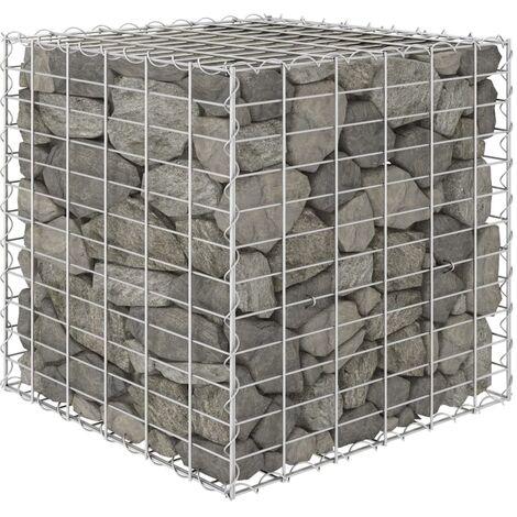 Arriate de gaviones cúbico alambre de acero 60x60x60 cm - Plateado