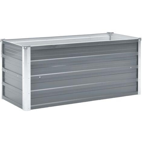 Arriate de jardín de acero galvanizado gris 100x40x45 cm