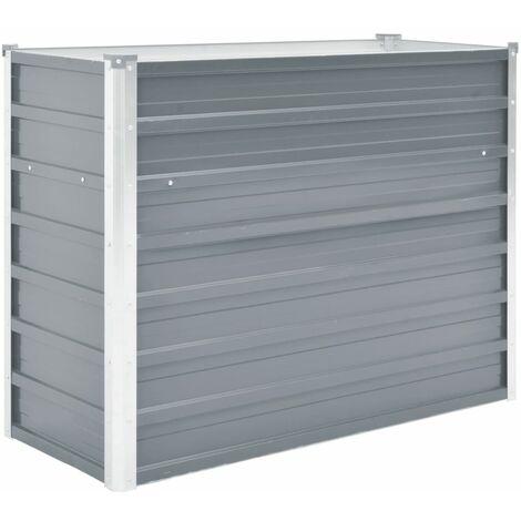 Arriate de jardín de acero galvanizado gris 100x40x77 cm