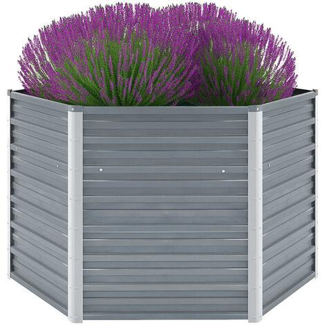 Arriate de jardín de acero galvanizado gris 129x129x77 cm