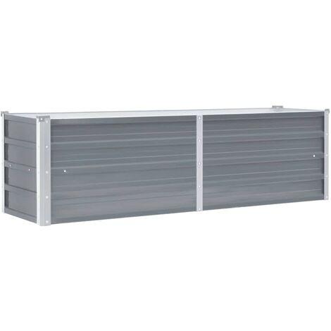 Arriate de jardín de acero galvanizado gris 160x40x45 cm