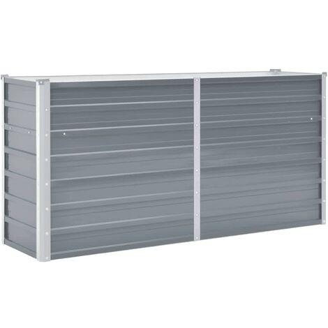 Arriate de jardín de acero galvanizado gris 160x40x77 cm