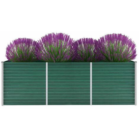 Arriate de jardín de acero galvanizado verde 240x80x77 cm