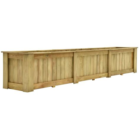 Arriate de madera de pino impregnada 291x50x50 cm