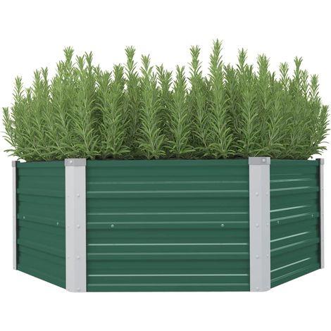Arriate elevado acero galvanizado verde 129x129x46 cm