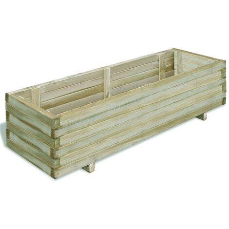 Arriate rectangular madera 120x40x30 cm - Verde