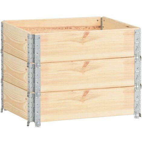 Arriates de madera maciza de pino 3 unidades 60x80 cm - Marrón