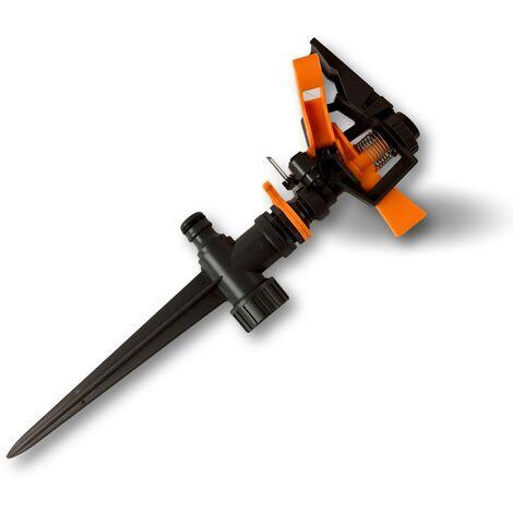 Arroseur à impulsion | Portée 5 à 12,5 m | Arrosage 30 à 50 m2 | PP ABS noir - Lot de 10 - Oscillant pic plastique