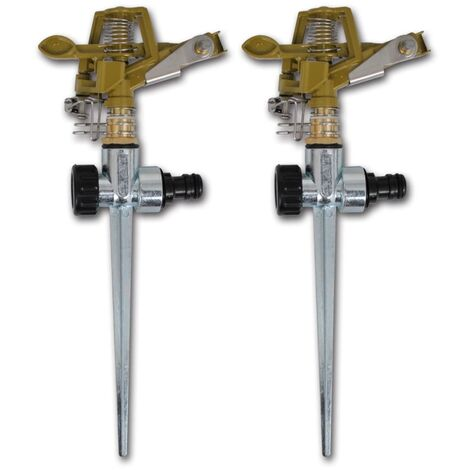 Arroseur à impulsion sur piquet zinc métal 2 pièces