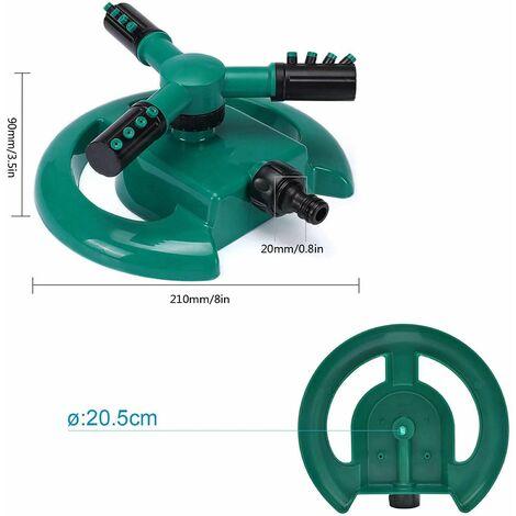 Arroseur automatique à 3 bras rotatif à 360 degrés pour arroser votre pelouse, vos plantes, vos légumes, etc. 5.9*5.9*3.5 Inches Vert/noir