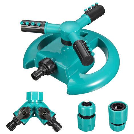 Arroseur automatique d'eau de jardin de pelouse à 3 bras Arroseur rotatif à 360 degrés