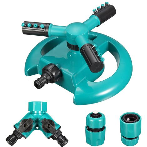 Arroseur automatique d\'eau de jardin de pelouse à 3 bras Arroseur rotatif à 360 degrés Sasicare