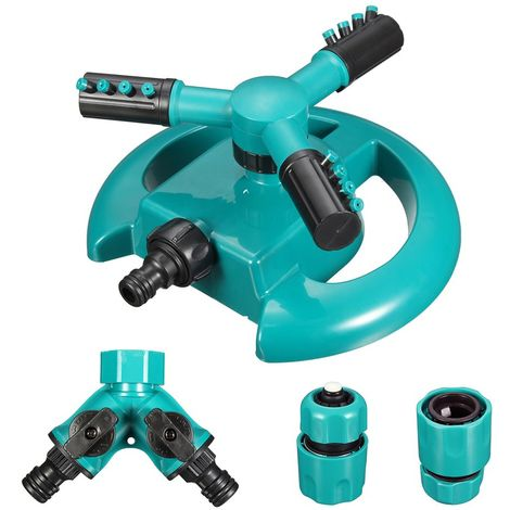 Arroseur automatique d'eau de pelouse de jardin Système d'arrosage rotatif à 3 bras à 360 degrés Sasicare - Bleu clair