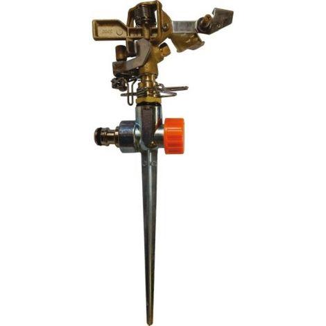 Arroseur canon tout laiton sur pic, entrée 15x21, réglable de 20° à 360°, arrosage de 300m² sous 4 bars