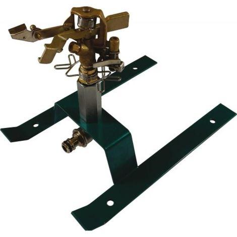 Arroseur canon tout laiton sur traineau acier, entrée 15x21, réglable de 20° à 360°, arrosage de 300m² sous 4 bars