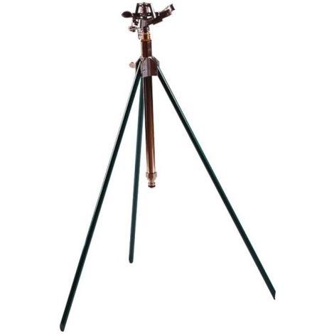 Arroseur canon tout laiton sur trépied acier, entrée 20x27 , réglable de 20° à 360°, arrosage de 400m² sous 4 bars