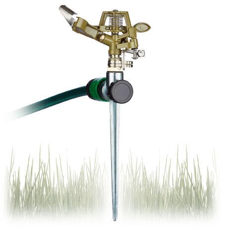 Arroseur circulaire aspergeur pelouse, jardin pulvérisateur, arrosage uniforme jusqu'à 700 m² 15 m 360°, vert