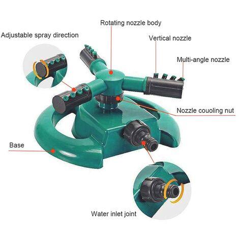 Arroseur de Jardin 3 Buses - Rotation Automatique à 360° - Vert et Noir - 22 x 22 x 12 cm