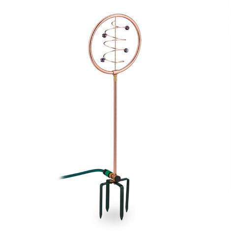 Arroseur de jardin, jeu d'eau de pelouse, design en spirale, avec piquet, 2 en 1, déco, cuivré-vert