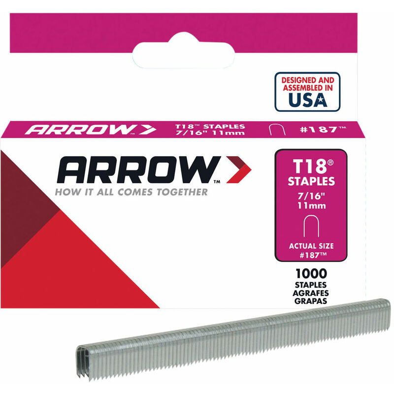 Image of Arrow A187 T18 Staples 11mm (7/16in) Box 1000