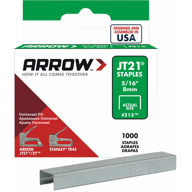 Image of Arrow A215 JT21 T27 Staples 8mm ( 5/16in) Box 5000