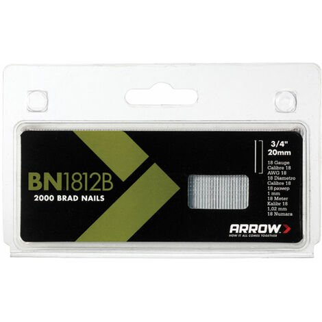 Arrow ABN1812B BN1812B Brad Nails 20mm Brown Head Pack 2000