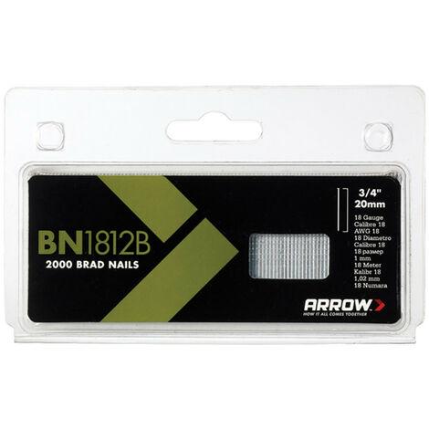Arrow ARRBN1812B BN1812B Brad Nails 20mm Brown Head Pack 2000