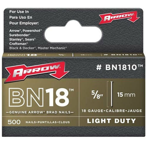 "Arrow BN1810 Brad Nails Brown Head Size: 5/8"" - 15mm Pack: 500"