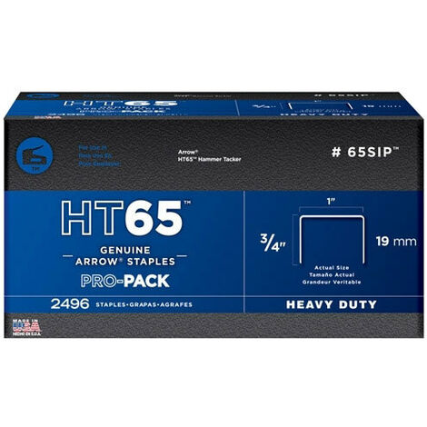 "Arrow HT65 Heavy Duty Staples Size: 3/4"" - 19mm Pack: 600"