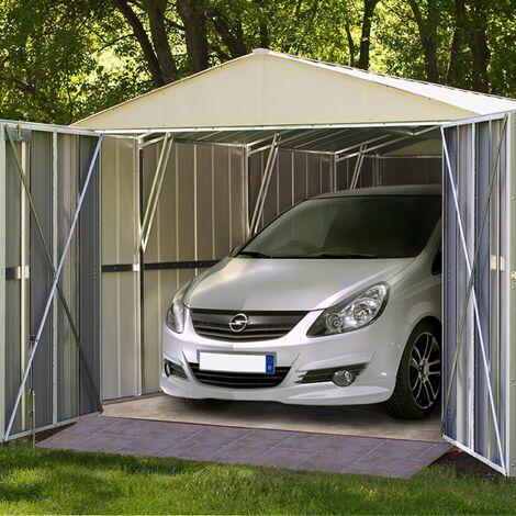 "Arrow Metall-Gerätehaus / Carport ""Commander 1025"" creme / nuss 22,6 m²"