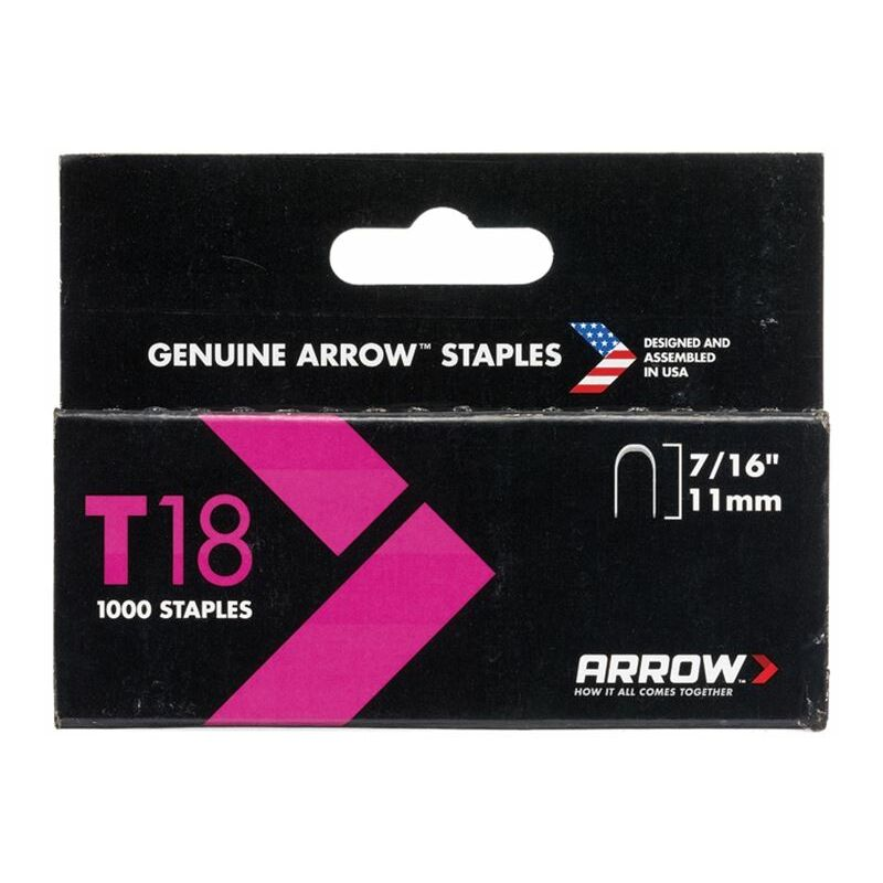Image of T18 Staples 11mm (7/16in) Box 1000 (ARRT18716S)