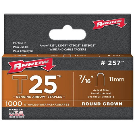 "Arrow T25 Round Crown Staples Size: 7/16"" - 11mm Pack: 1000"