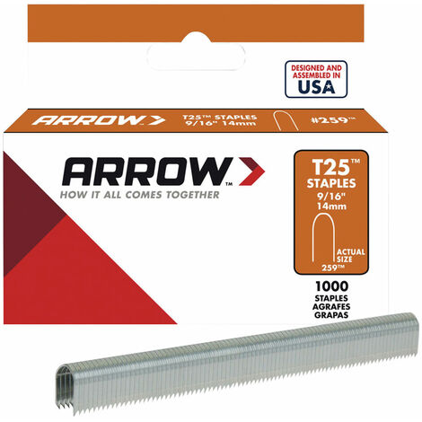 Arrow T25S-916 T25 Staples 14mm (9/16in) Box 1000