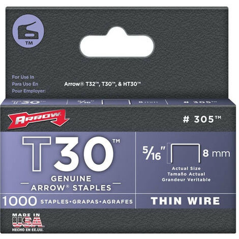 "Arrow T30 Staples Size: 5/16"" - 8mm Pack: 1000"