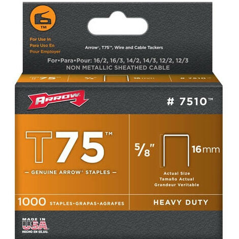 "Arrow T75 Round Crown Staples Size: 5/8"" - 16mm Pack: 1000"