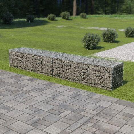Arrowood Galvanised Steel Gabion Wall with Covers by Dakota Fields - Silver