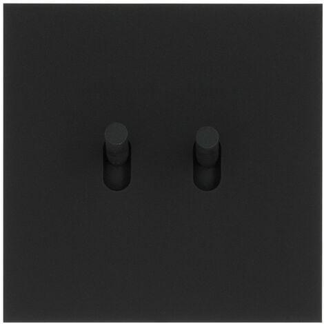 Art d'Arnould univers Epure double va-et-vient ou interrupteur noir mat (67802)