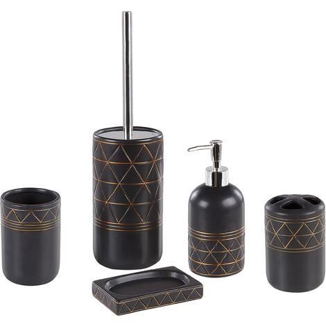 Art Deco Bathroom Accessories Set Black Gold Ceramic Soap Dispenser Toilet Brush Lanco