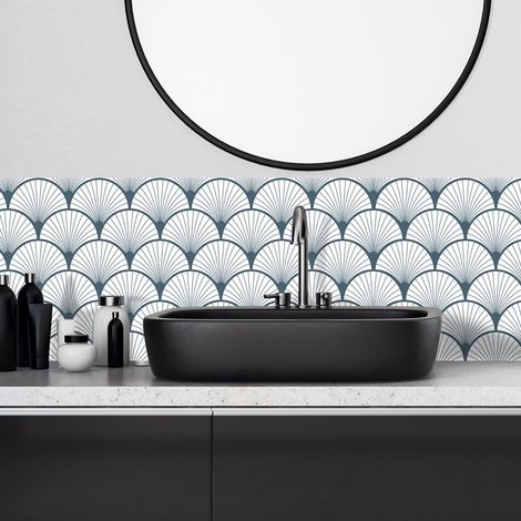 Art Déco bleu | Crédence salle-de-bain en PVC Art Déco bleu - Lot de 2 bandeaux L70xH30cm