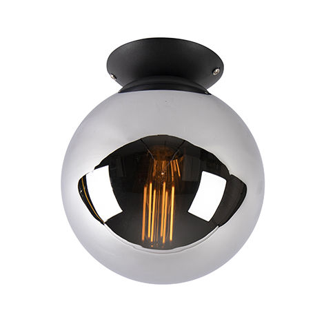 Art Deco Ceiling Lamp 20cm Black with Smoke Shade - Pallon
