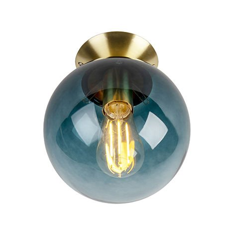 """main image of """"Art Deco Ceiling Lamp 20cm Brass with Ocean Blue Glass Shade - Pallon"""""""