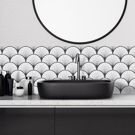 Art Déco Gris graphit | Crédence salle-de-bain en PVC Art Déco gris graphit - Lot de 2 bandeaux L70xH30cm