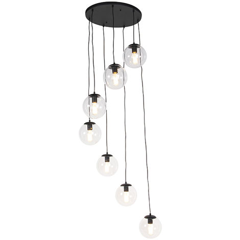 Art deco hanging lamp brass with black glass 3-lights - Pallon