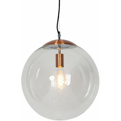 Art deco hanging lamp copper with clear glass 30 cm - Ball 30