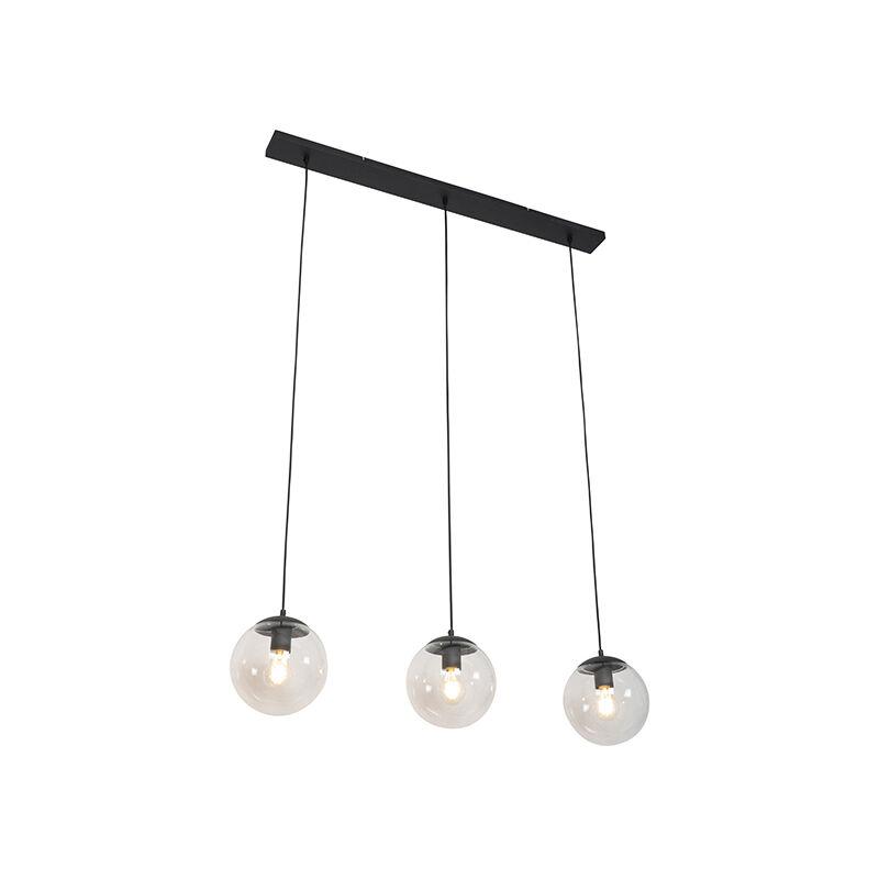 Qazqa - Art Deco Hängelampe schwarz mit klarem Glas 3-Licht - Pallon Mezzi